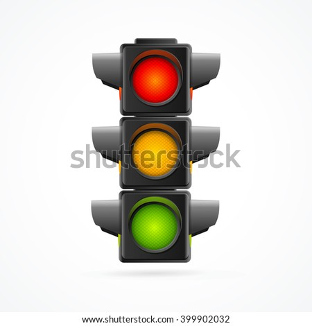 Traffic Lights Realistic on White Background. illustration - stock photo