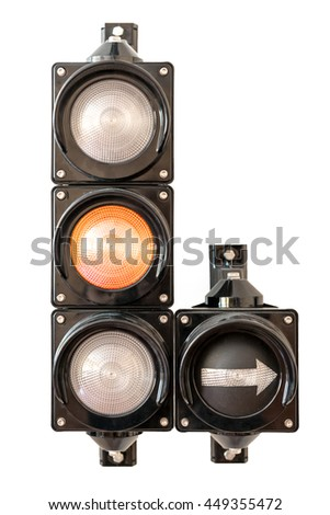 Traffic lights with arrow, orange light isolated on white background