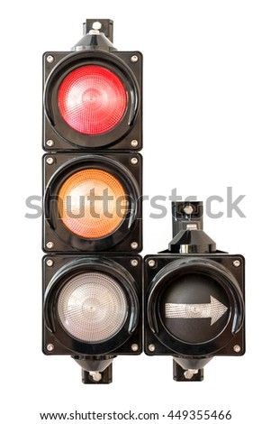 Traffic lights with arrow,  red and orange light isolated on white background