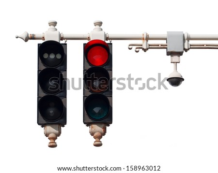 Traffic lights with red sign on street , isolated on white old semaphore in Budapest, Hungary - stock photo