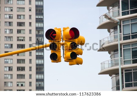 Traffic lights with red, yellow - stock photo