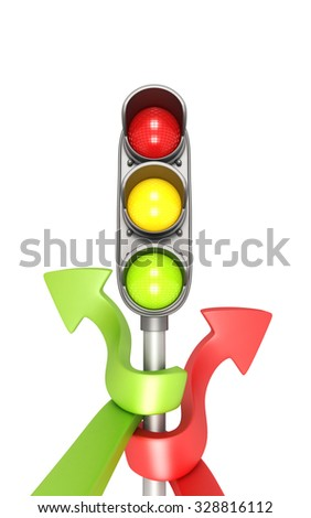Traffic Lights With Two Ways. 3d rendering.