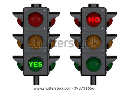 Traffic Lights with Yes and No Signs on a white background - stock photo