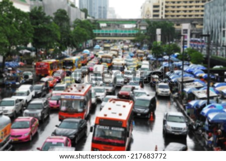 Traffic Nears Gridlock on a Busy City Road - Image Has Soft Focus - stock photo