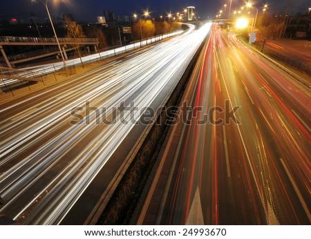 Traffic Night of City - stock photo