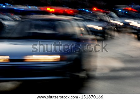 traffic of cars on the night road, the headlights - stock photo