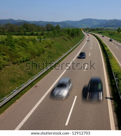 Traffic on freeway - stock photo
