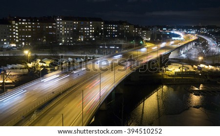 Traffic on Freeway in Stockholm, Sweden - stock photo