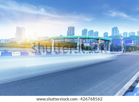 traffic on highway,chongqing - stock photo