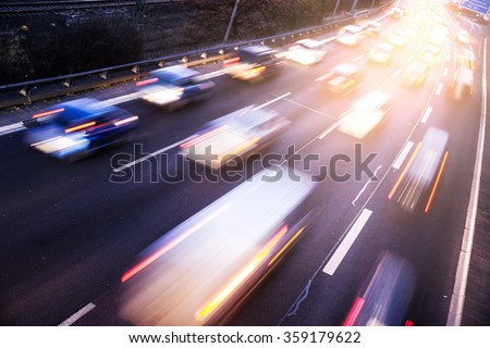 Traffic on highway with light effect - stock photo