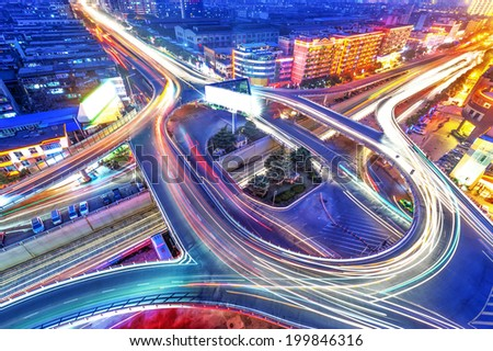 traffic on junction in city - stock photo