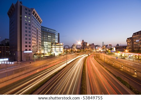 Traffic on sunset - stock photo