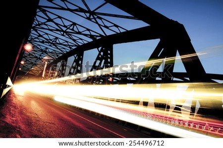 Traffic on the Bridge, Cremona, Italy - stock photo