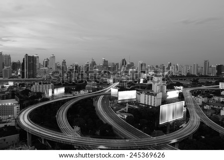 Traffic on the elevated highway in Thailand black and white tone. - stock photo