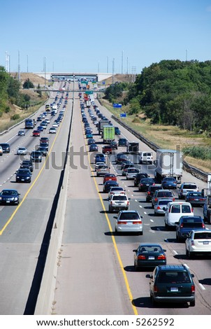 Traffic on the highway - stock photo