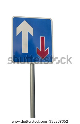 Traffic priority road sign indicating traffic going forward has priority; installed as part of a traffic calming scheme on a residential estate. - stock photo