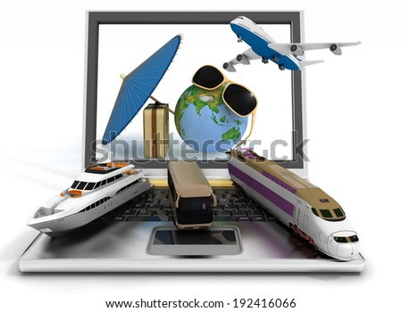 Traffic resources with suitcase, globe and umbrella on laptop screen. Travel and vacation concept. Trendy signs - summer and journey. Elements of this image furnished by NASA. 3d render illustration - stock photo