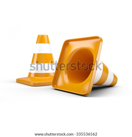 Traffic, road cones barrier - stock photo