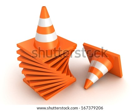 Traffic Road Orange Cones stack on white - stock photo