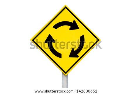 traffic rotary - Roadsign - stock photo