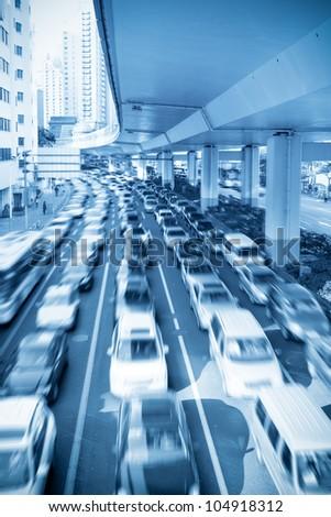 traffic rush hour under the viaduct in shanghai,China - stock photo