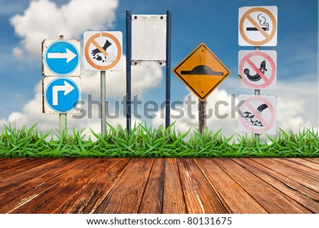 Traffic sign againt cloud blue sky background - stock photo