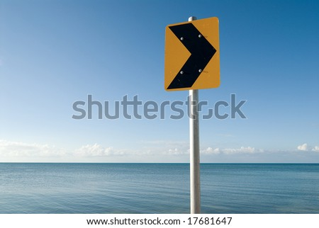 Traffic sign at sea - stock photo