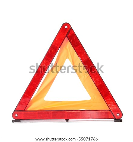 traffic sign cautiously, on a white background, is isolated.