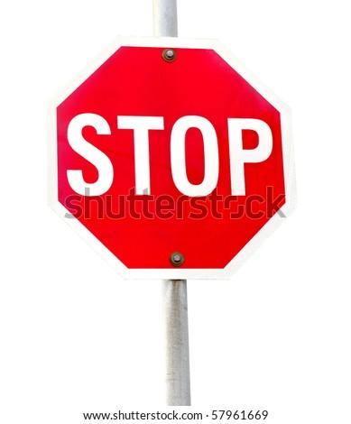 traffic  sign compulsory highway code stop symbol white background - stock photo