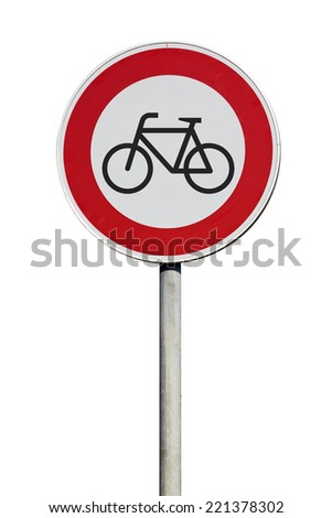 Traffic Sign entrance for cyclists disallowed isolated  - stock photo