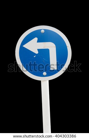 Traffic sign isolate on black background with clipping path - stock photo