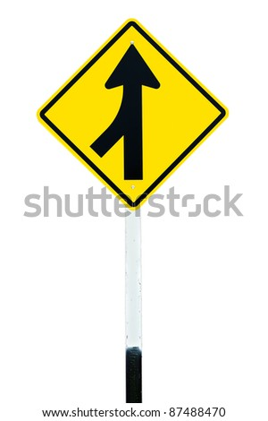 Traffic sign  Lanes Merging Left  isolated - stock photo