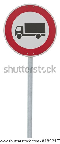 traffic sign: motor lorry. isolated on white with clipping path - stock photo