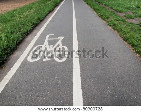 Traffic sign of a bike bicycle lane - stock photo