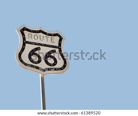 Traffic sign on American highway Historic route 66