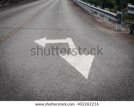 traffic sign on the road for drive - stock photo