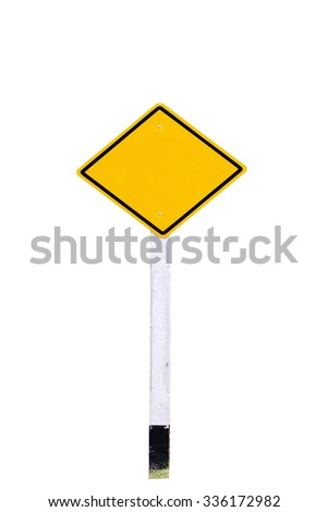 traffic sign post on white background - stock photo