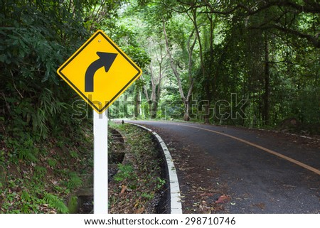 Traffic Sign right curve - stock photo