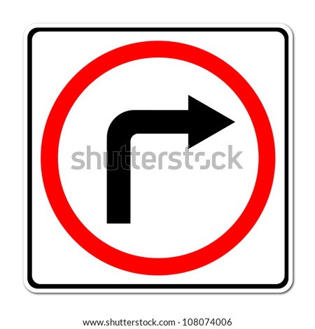 Traffic sign show the turn right on white background - stock photo