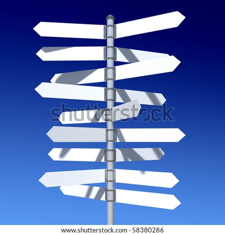 traffic sign standing on the skyline - stock photo