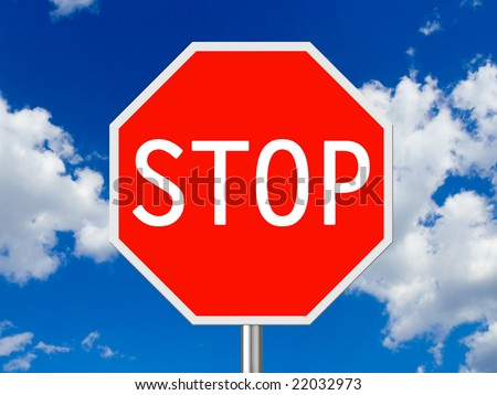 Traffic sign Stop, sky on background - stock photo