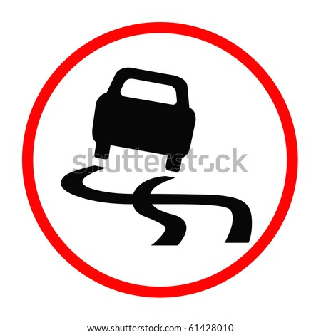Traffic Sign - Warning, Car Out Of Control - stock photo