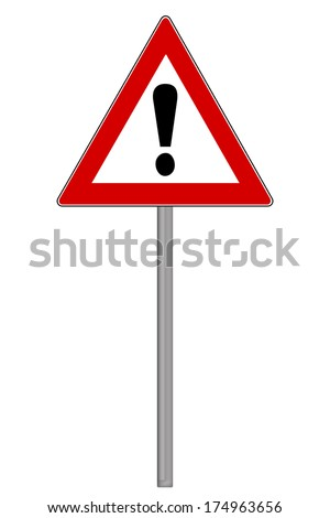 Traffic Sign with exclamation mark isolated over a white background / Traffic Sign