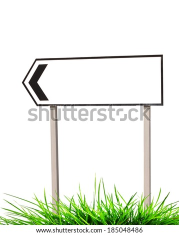 Traffic signs and grass on white - stock photo