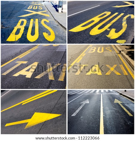 Traffic signs collage - stock photo
