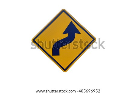Traffic Signs, Displays curve - stock photo