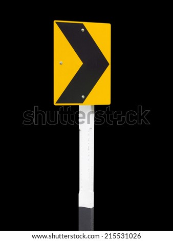 Traffic Signs on black background, Arrow traffic sign - stock photo