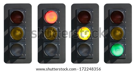Traffic Signs: Traffic Signal with Various Lights On - stock photo