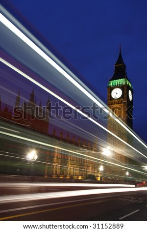 Traffic through London - stock photo