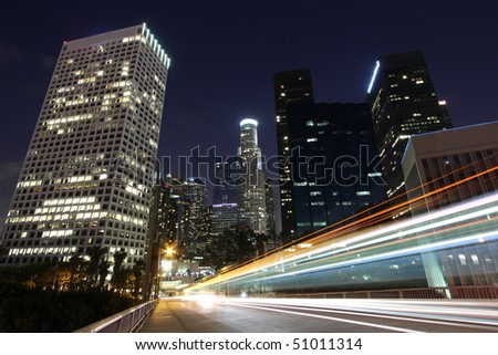 Traffic through Los Angeles at Night - stock photo